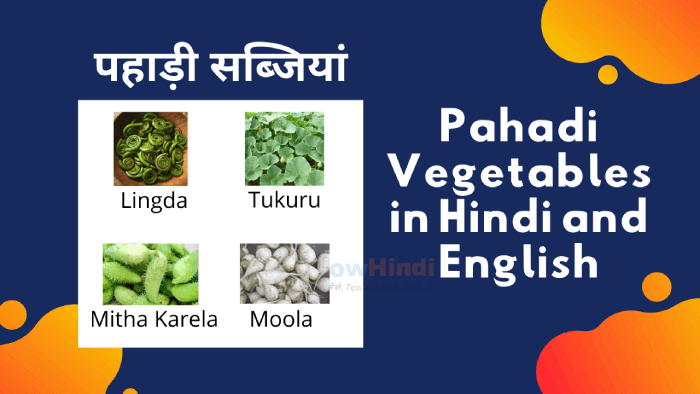 20 Pahadi Vegetables in Hindi and English