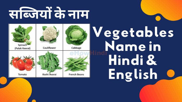100 Vegetables Name in Hindi & English – Sabziyon ke Naam